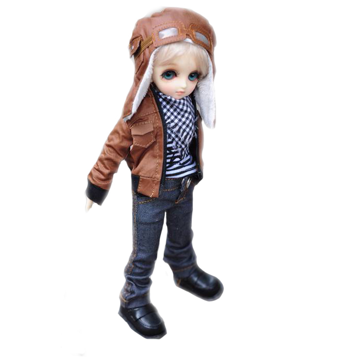 [wamami] 774# Brown Jacket/Jeans/Hat/Suit/Outfit For MSD DOD DZ 1/4 BJD Boy Doll [wamami] 774 england style black suit outfit clothes for 1 3 sd dz dod bjd