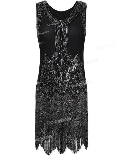 PrettyGuide женская 1920 s Vintage Бисером Бахромой Вдохновил Черный Хлопушки Платье Великий гэтсби Платье