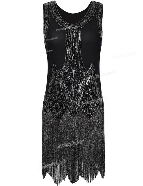 Prettyguide Women S 1920s Vintage Beaded Fringed Inspired Black Fler Dress Great Gatsby Party