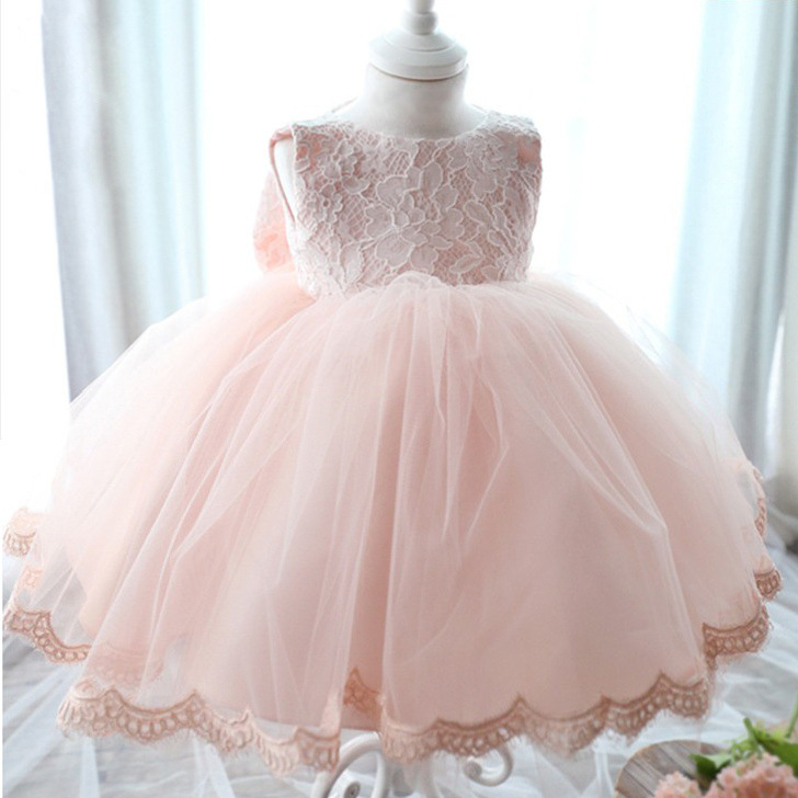 High Quality Mesh Baby Girl Dress Pink Baptism Infant 1 Year Birthday Clothes With Satin And Lace bowknot For Toddler Kids Fb30 2017 lovely toddler girl dress princess stripe tutu baptism child clothes 1 year birthday baby girls dresses for infant 2 year