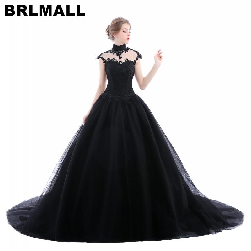 Gothic Black Wedding Dresses Plus Size Ball Gowns Puffy: BRLMALL High Neck Goth Black Wedding Dresses Plus Size
