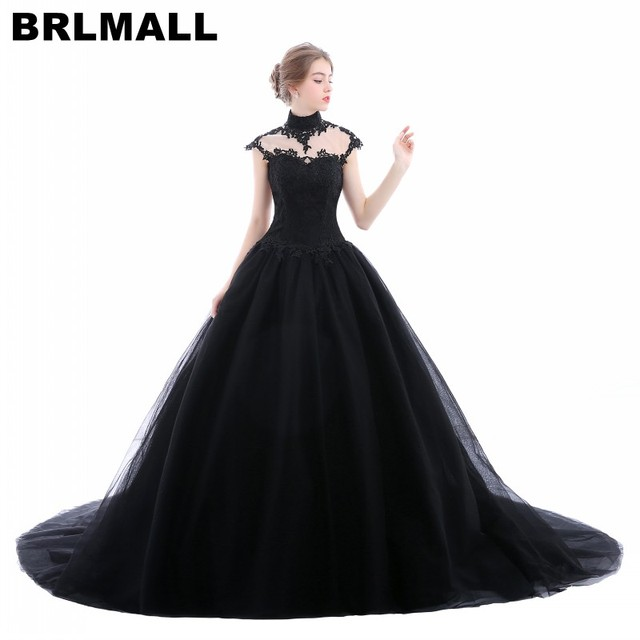 BRLMALL High Neck Goth Black Wedding Dresses Plus Size Tulle ...