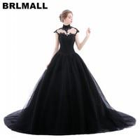 BRLMALL High Neck Goth Black Wedding Dresses Plus Size Tulle Applique vestido de noiva Bridal Gown Ball Church For Bride