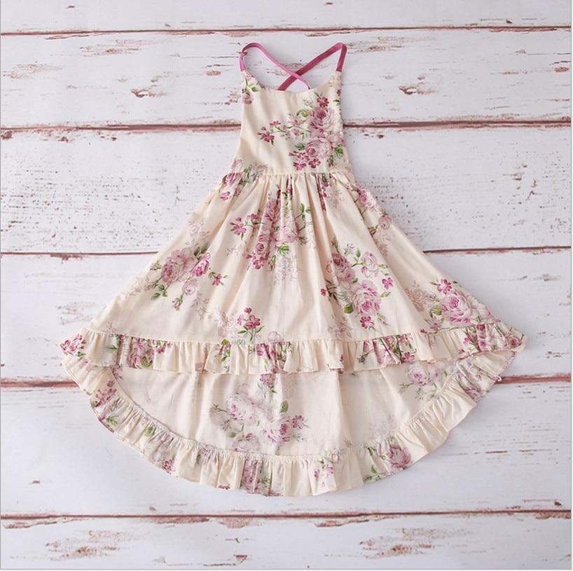 Girl Summer Dresses 2019 New Kids Sweet Dresses Fashion Elegant Girls Backless Dress Cotton Print Baby