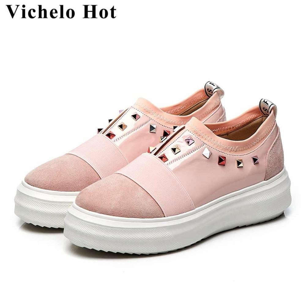 Del Diario Conciso Redondo Vichelo Natural Pie Cuero Remaches Fondo Nueva rosado Joven Negro Estilo De Caliente Dedo Zapatos L71 Chica Llegada Vulcanizados IvSvna0