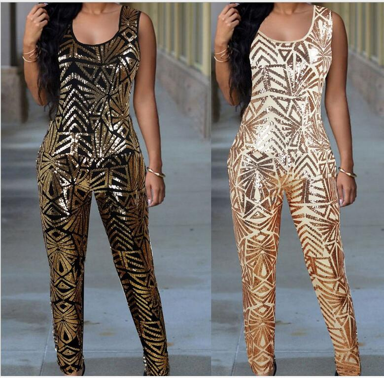 2016 Hot Fashion Women Gold Sequin Jumpsuit Women Sexy Bodysuit