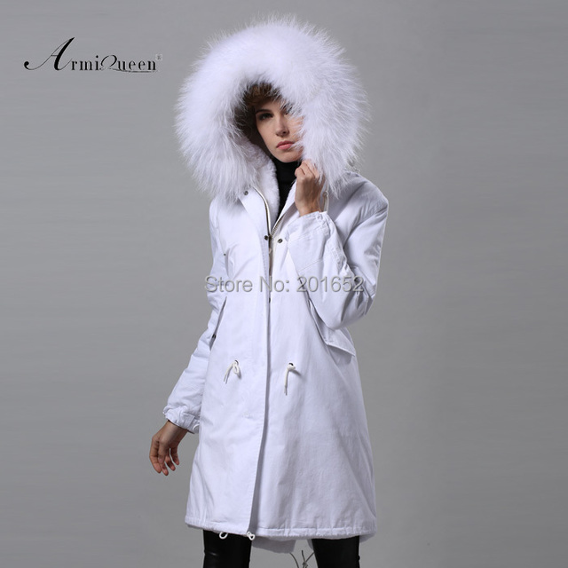 New Fashion Warm Women Slim Long canvas Jacket Fur Collar Parka white long coat with mrs fur lined Winter Coat Factory Price 4