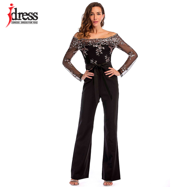 98fe47630e IDress New 2018 Summer Women Bodycon Black Sequin Embroidery Jumpsuit  Elegant Slash Long Pants Sexy Club Jumpsuits and Rompers