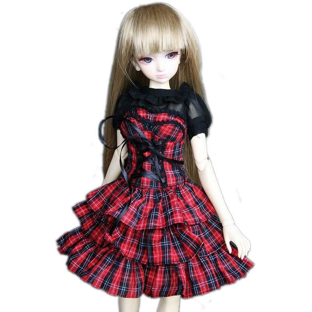 [wamami] 244# Red Plaid Maid Dress/Shirt/Suit 1/4 MSD DZ DOD BJD Dollfie handsome grey woolen coat belt for bjd 1 3 sd10 sd13 sd17 uncle ssdf sd luts dod dz as doll clothes cmb107