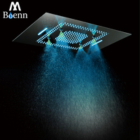 Luxury Concealed Ceiling Electric LED Shower Heads Rainfall Showerhead 600x800mm Waterfall,Misty Phone Control Colorful Showers