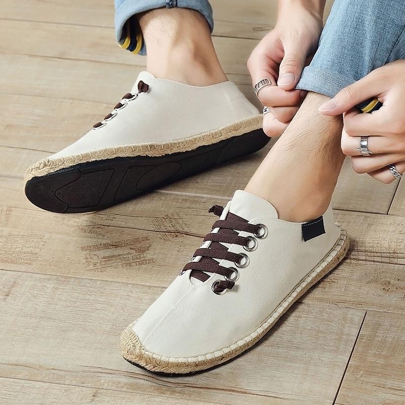 2020 Canvas Shoes Men Flat Casual Footwear Breathable Hemp Lazy Shoes Cool Young Man Shoes Cloth Footwear Black Blue KA1494