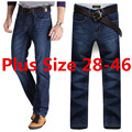 Plus Size 28-40 42 44 46 Darked Wash Jeans Mens Blue Black Stretch Denim Slim Straight Classic Casual Pants Male Trousers 507