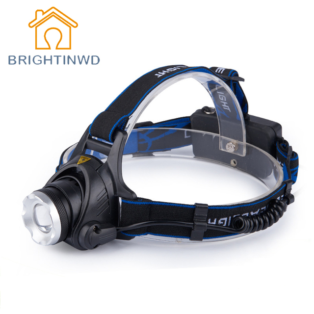 T6 Searchlight Headlights Zoom Light Hunting Miners Lamp Night Fishing Lights Rechargeable Long Shots Flashlight BRIGHTINWD