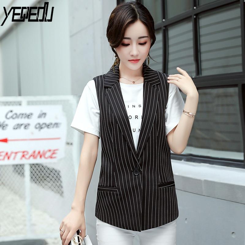 #0723 Spring Black Stripe Blazer Vest Women Single Button Sleeveless Jacket For Women Waistcoat Long Suit Vest Female Elegant