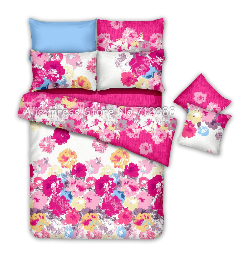 Colorful flower bedding - Bed Sheet 4pc Queen Bedding Sets Premium Cotton Colorful Flower Floral Pattern Roseo Comforter Covers Home