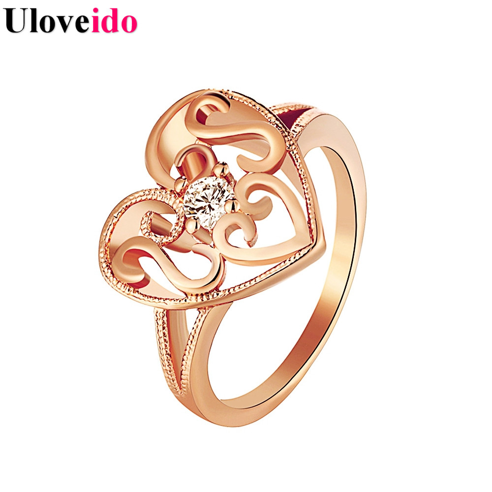 15% Off Heart Ring Rose Gold Color Jewelry Love Engagement Rings With  Stones For Women