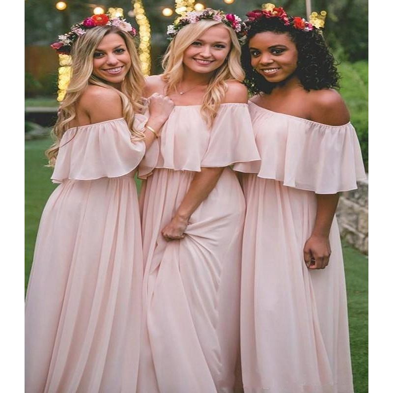 2019 Chiffon Long Mumu   Bridesmaid     Dresses   Elegant Pink Off The Shoulder Beach Bohemian Maid of Honor Wedding Party Plus Size
