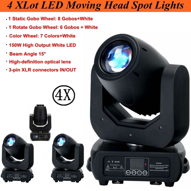 4XLot dj equipment 150W LED Spot Moving Head Light DMX512 Control Club DJ Stage Lighting Party Disco Moving heads Light