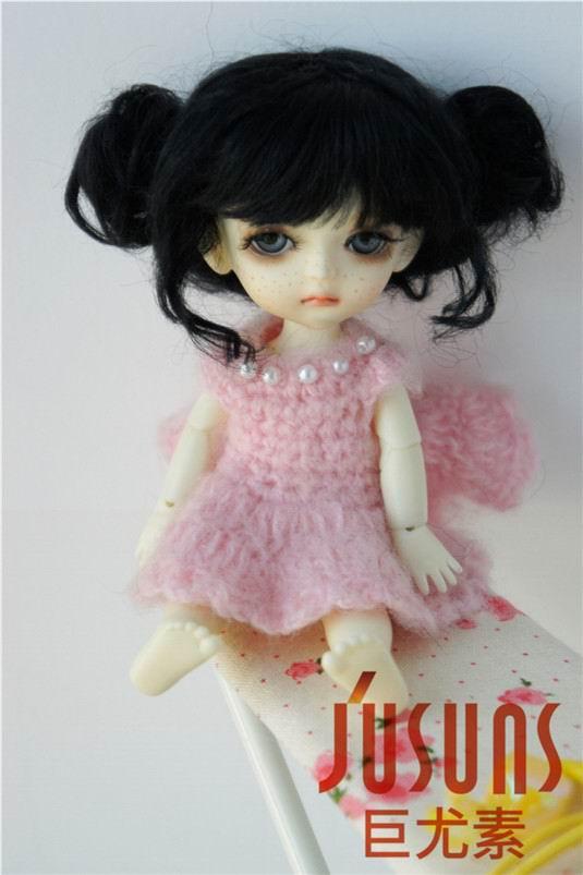 JD406 1/8 5-6 дюймов, парик для куклы BJD, кукольный парик, прекрасные мохеровые парики, Детские два пони, парик для маленькой куклы - Цвет: Black M1