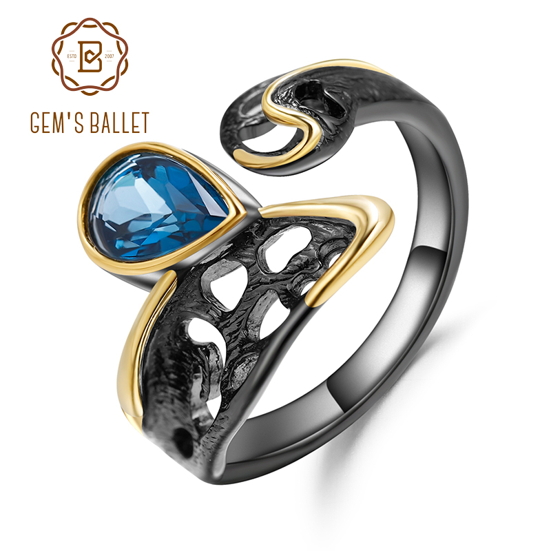 GEM'S BALLET Natural London Blue Topaz Gemstones Ring 925 Sterling Silver Original Handmade Open Adjustable Rings for Women