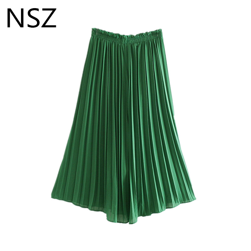 NSZ Women Green Pleated Chiffon   Wide     Leg     Pant   Elastic Waist Dress   Pant