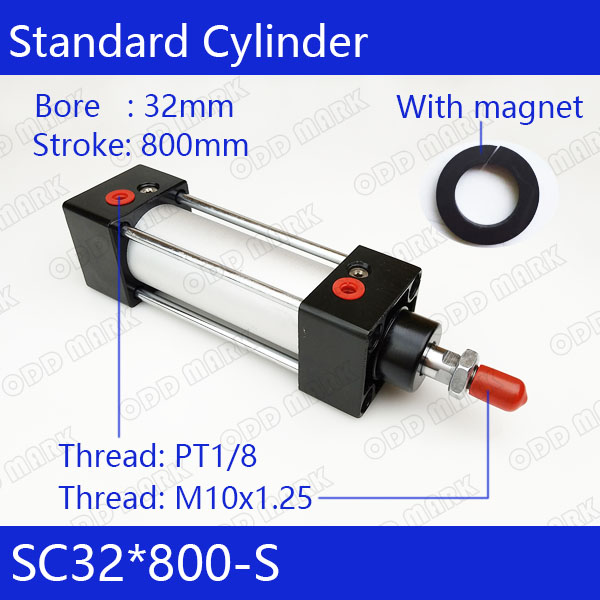 SC32*800-S  Free shipping Standard air cylinders valve 32mm bore 800mm stroke single rod double acting pneumatic cylinder free shipping 32mm bore sizes 75mm stroke sc series pneumatic cylinder with magnet sc32 75