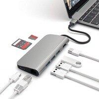 YSTC0101 Type c to hub (3 port USB3.0) + Hdmi 4K + RJ45 Gigabit + charging Data + Secure Digital/T Flash card reading 8 port