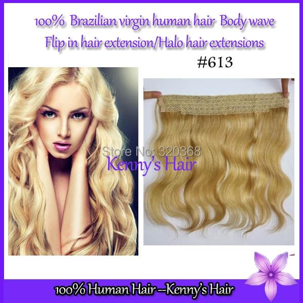 Harga grosir Halo ekstensi rambut 100 kelas 6A gelombang tubuh Brazilian rambut jepit di rambut ekstensi
