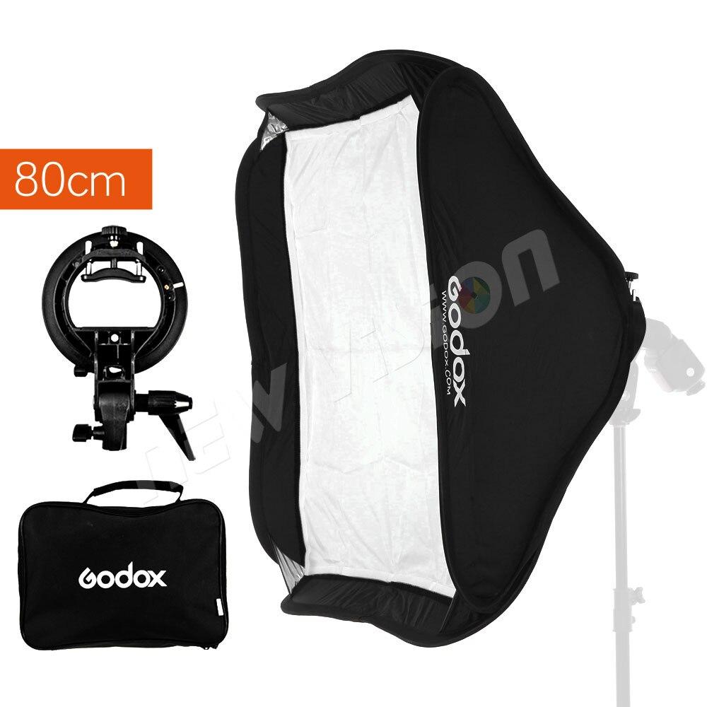 Prix pour Godox ajustable flash softbox 80 cm * 80 cm + s type support kit de montage pour flash speedlite studio tir