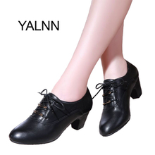 YALNN Women Leather High Heel Pumps Shoes for Spring Autumn Office Lady Med Heels