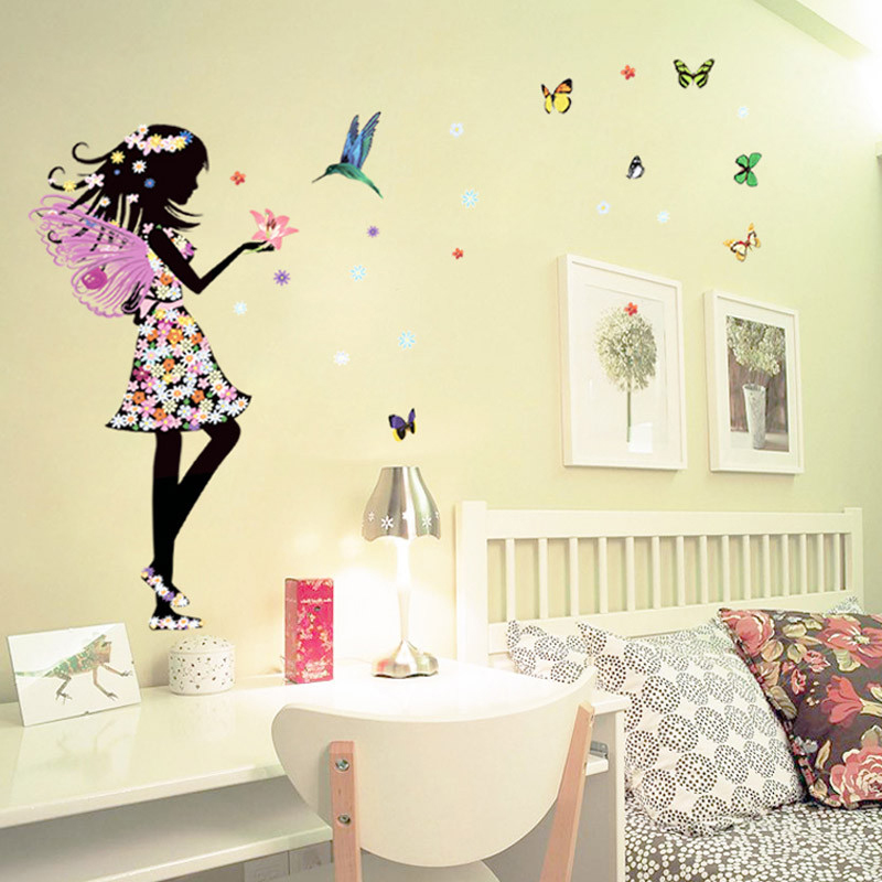 1pc butterflies girl flower wall sticker for kids rooms