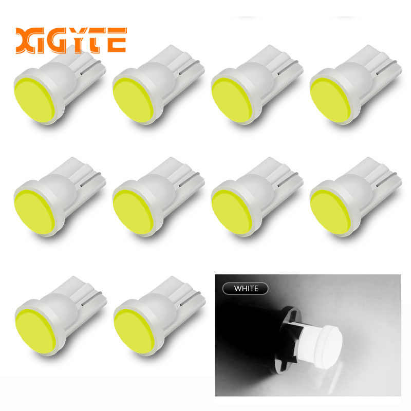 10pcs T10 194 W5W LED Car Parking Light 501 WY5W 1 COB LED Wedge Interior Dome Lamp Auto Turn Side Bulbs License Plate bulbs 12V
