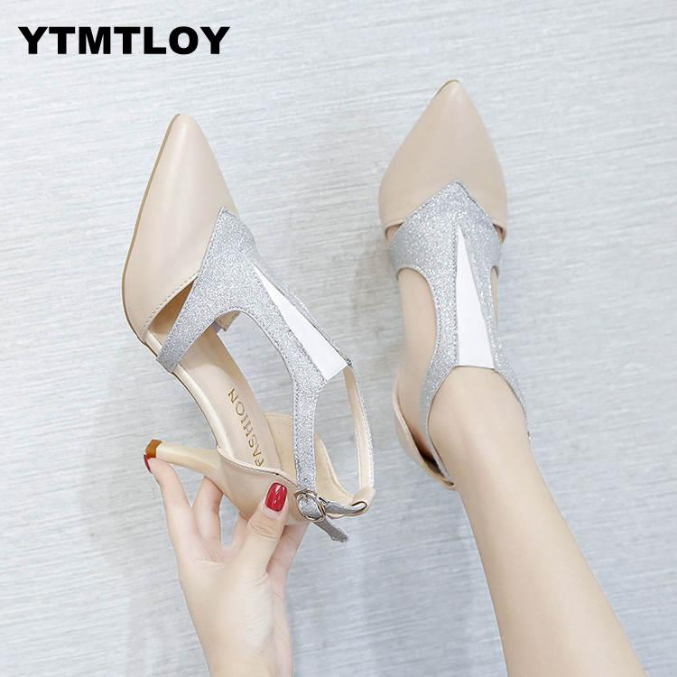 HOT 2019 Summer Shoes Woman Pumps High Thin Heels Pointed Toe Rhinestone Bling Gladiator Pumps Party Sexy Shoes Gold  Prom Shoes