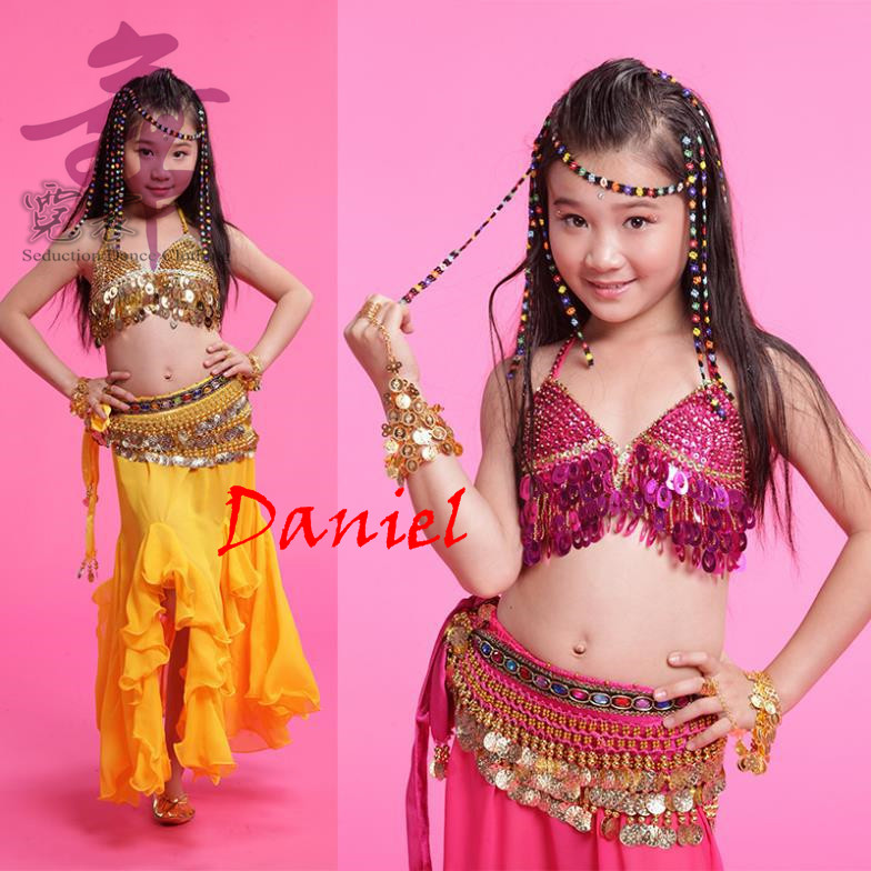 86ae7be76 kids indian dance costumes 3piece(top+pants+waist chain) accessories ...