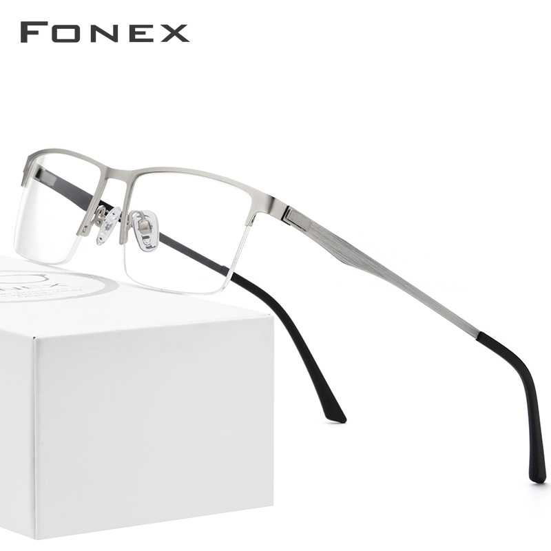 Alloy Glasses Frame Men Ultralight Half Square Eyeglasses Myopia Prescription Eye Glass For Man Optical Frames Screwless Eyewear