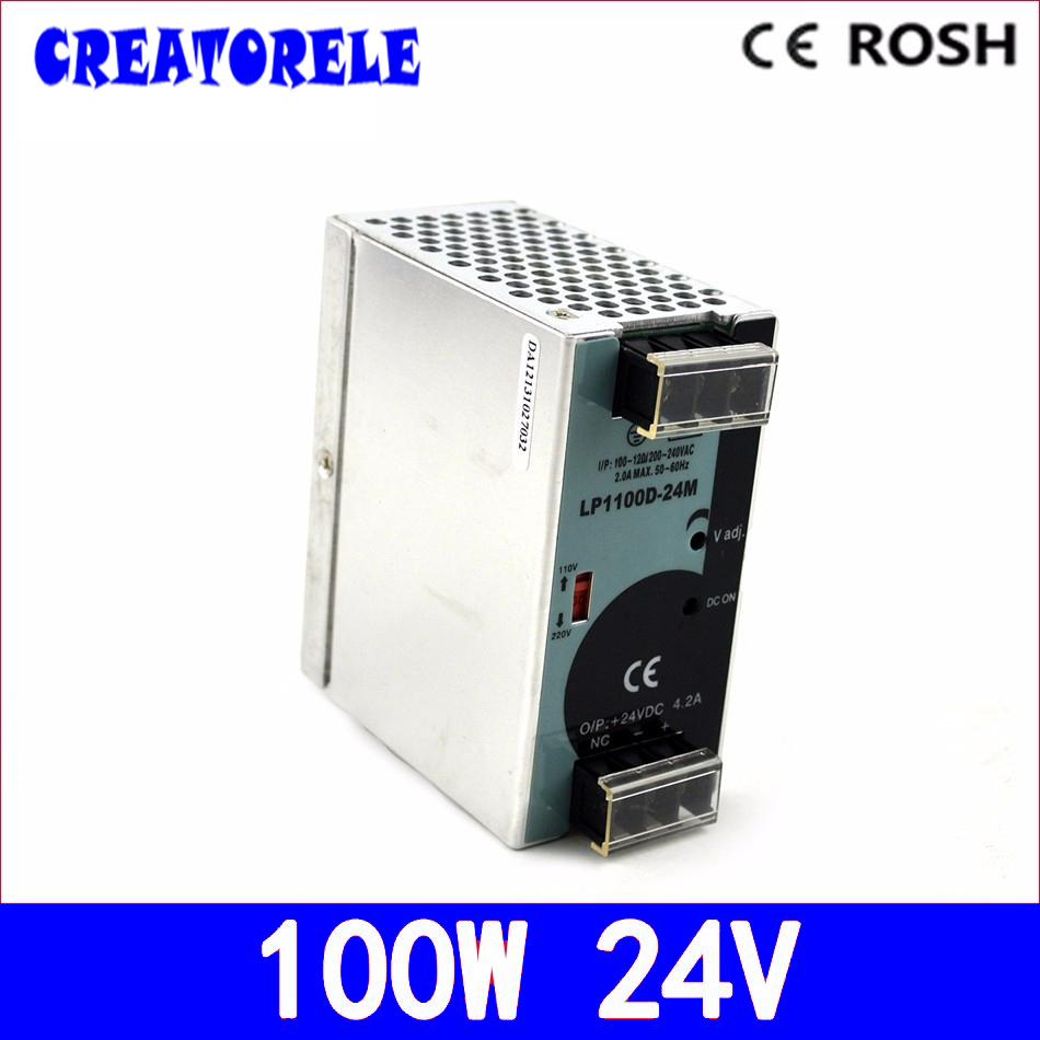 все цены на ac to dc 100w 24v4.2A dRail LP-100-24 Mini size DRail Single Output 24v driver led driver source swtching power supply volt