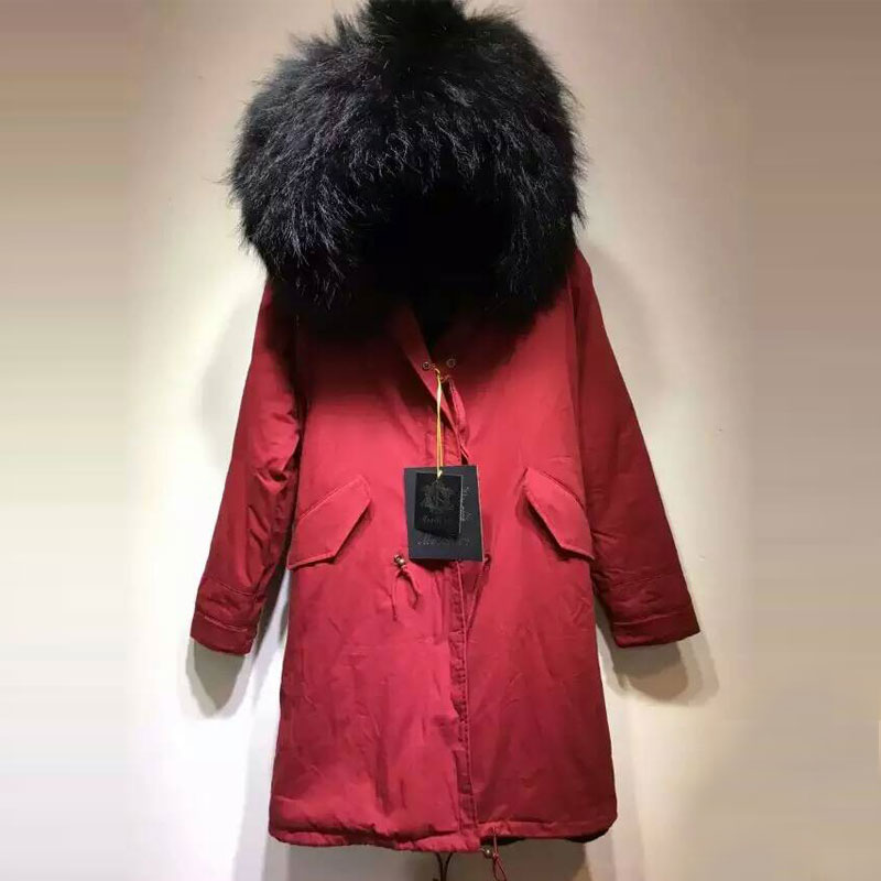 New Arrival Men winter thick lining faux fur coat with big black raccoon hooded free shipping