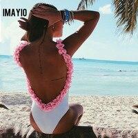 Women One Piece Swimsuit Backless Bodysuit 3D Flower Strap Nightclub Stretch White Swimwear Plus Size One