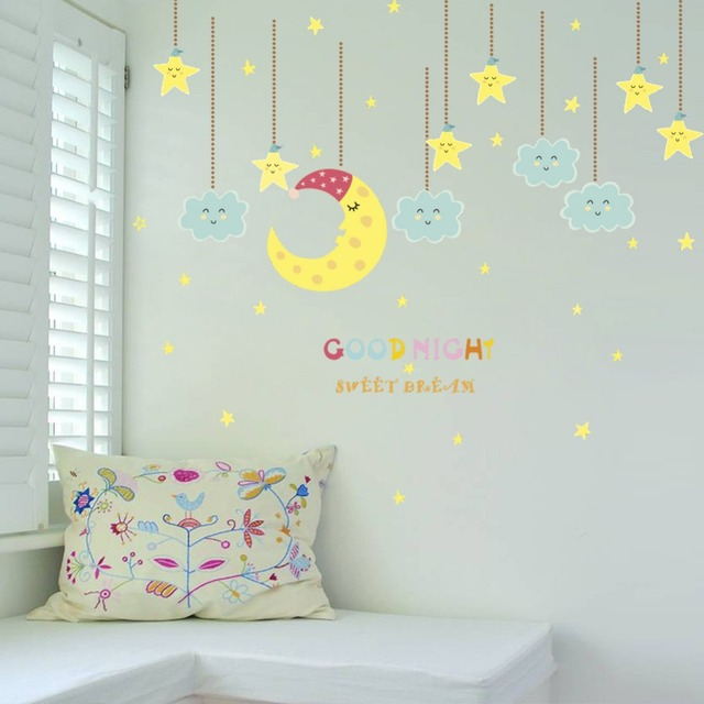 Good Night Super Cute Yellow Moon Star Smile Clouds Wall Stickers Kids Room  Baby Bedroom Wall