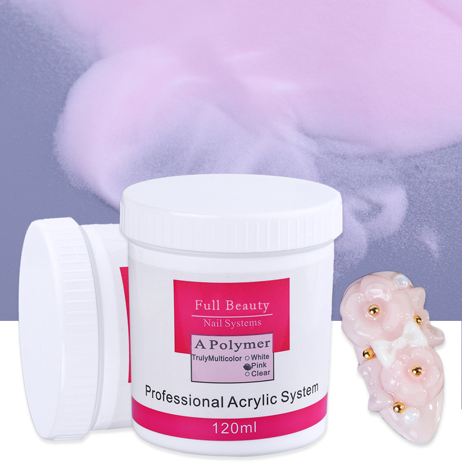 120ml Bottle Acrylic Powder Clear Pink White Color Nail Acrylic Powder Crystal Builder Polymer Dipping for Nail System CH789 (3)