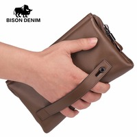 Bison Denim Genuine Cowskin High Quality Men Clutch Men Big Capacity Wrist Strap Wallet Bag