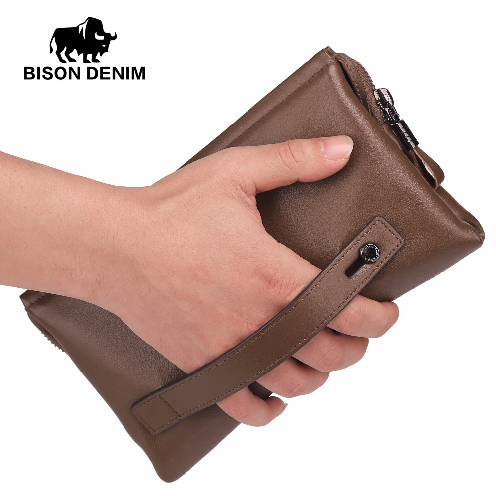 BISON DENIM Mens Wallets Luxury Brand Genuine Leather Guarantee Men Clutch Men Big Capacity Wrist Strap Wallet Bag Wrestle N2257