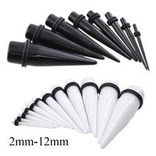 16 pçs/lote Black & White Acrílico Sólida Tamanho Mix Calibres Orelha Expansor Strecher Taper Ear Plug Piercing Body Piercing Jóias 2mm-12mm