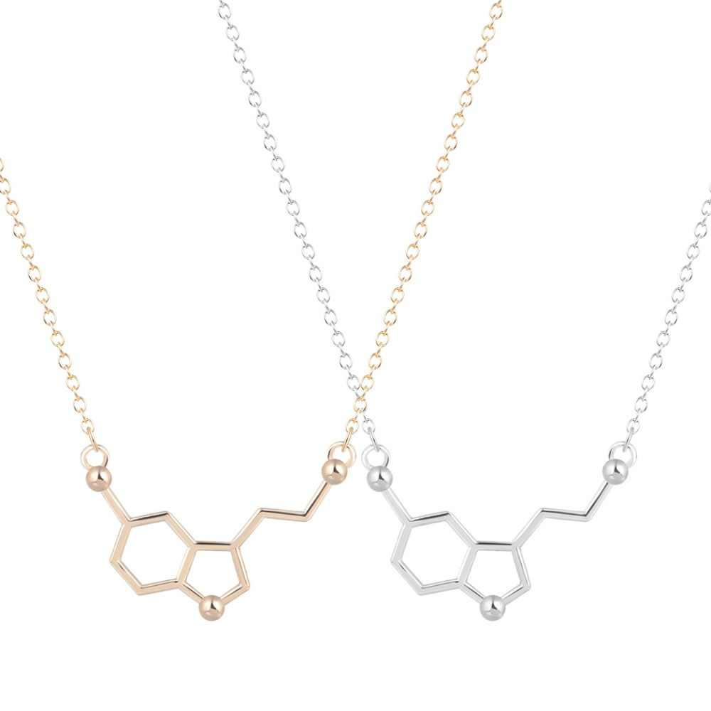 Qiamni Serotonin Molekul Kimia DNA Kalung Geometris Poligon Sarang Lebah Kalung Dopamin Cinta Perhiasan Hadiah Natal