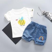 2019 Summer Toddler Infant Clothing Baby Girls Boys Clothes Suits Cartoon T Shirt Shorts 2Pcs/sets Kid Children Sport Tracksutis