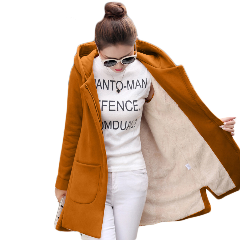2017 Winter Fleece   Jacket   Women Thicken Warm Hooded Long Coat Female 5XL Plus Size Kimono   Basic     Jacket   Chaqueta Mujer E0456