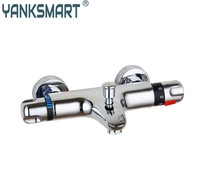 A Pak Thermostatic Shower Faucet Double Handles Auto Thermostat Control Valve Bath Faucets Mixer Taps HW5520