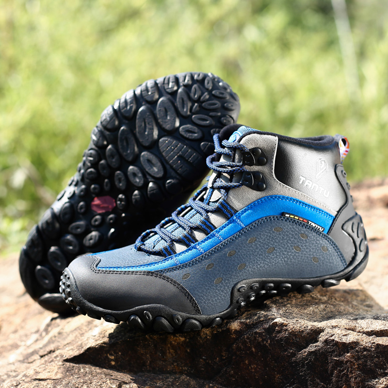 Outdoor 100% Echtem Leder Männer Wasserdichte Wanderschuhe Schnee Stiefel Trekking Schuhe Gummi Tragen-beständig Tourist Klettern Schuhe
