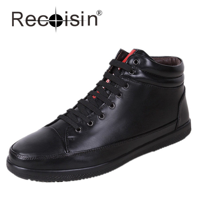 RECOISIN Autumn Winter Men Boots Genuine Leather Waterproof With Warm Plush Boots Black Outdoor High Board Shoes Zapatos 9938