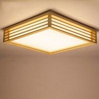Estilo japonês artesanato delicado quadro de madeira tatami led luzes de teto luminarias parágrafo sala escurecimento conduziu a lâmpada do teto